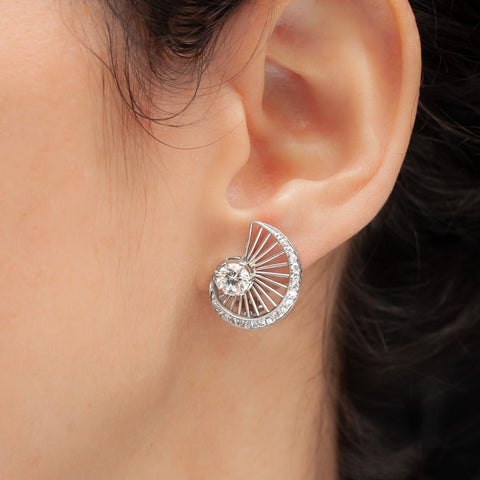 Nautilus Diamond Earrings c1950