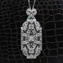 1920s Deco Platinum Diamond Pendant Brooch