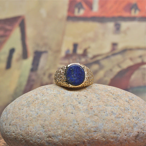 Handsome 1970s Lapis Lazuli & 14k Men's Ring