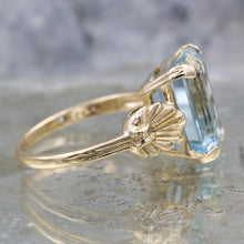 1930s Fine Emerald-Cut Aquamarine Ring