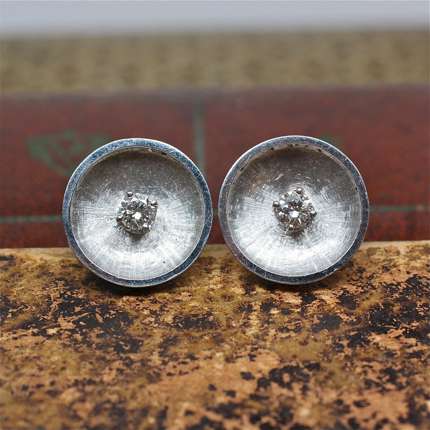 1950s Florentine Finished 14k White Gold and Diamond Cufflinks