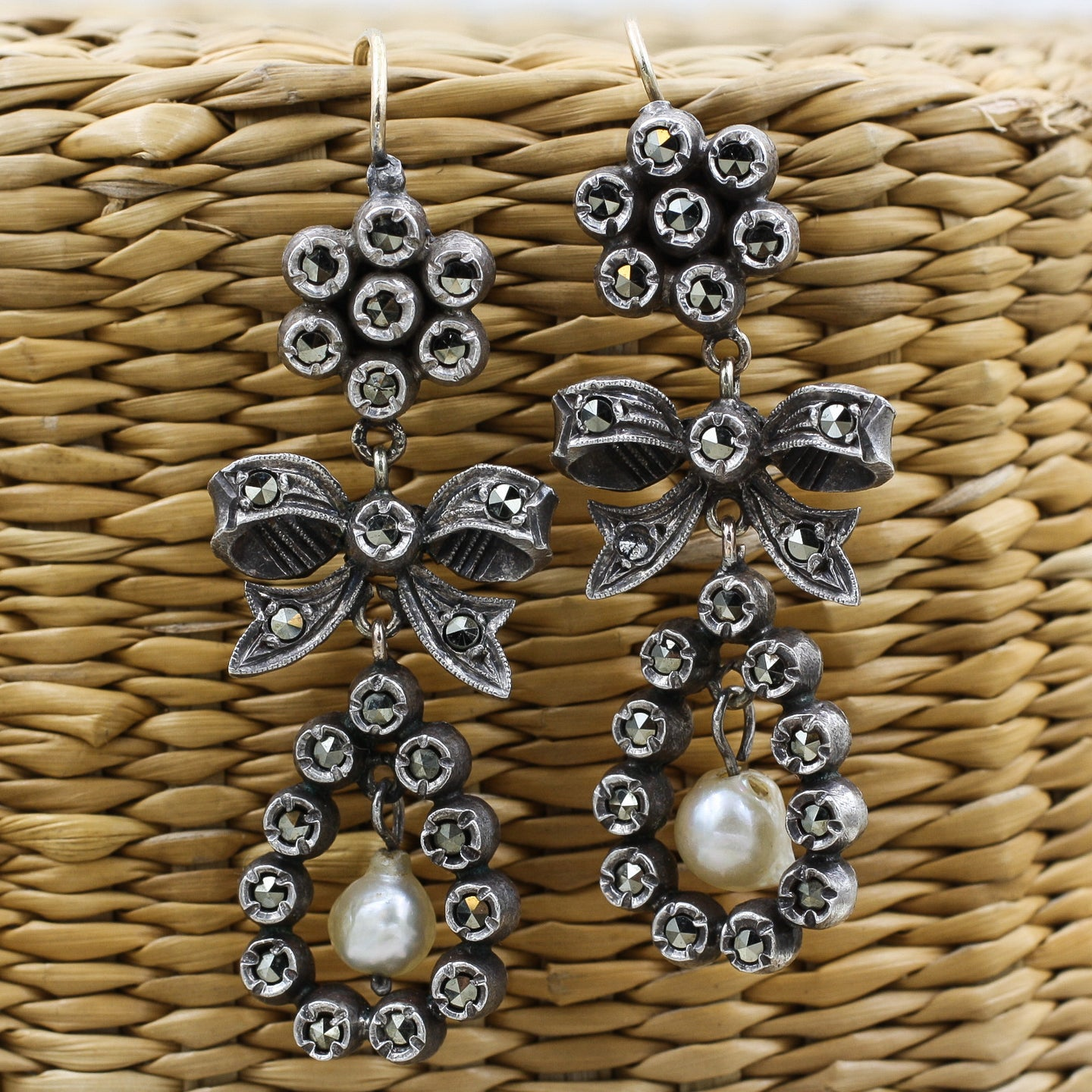 c1900 Marcasite Silver and 14k Baroque Pearl Drop Earrings