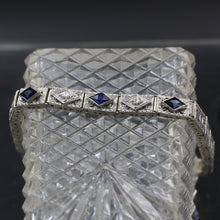 Deco Filigree Diamond and Sapphire Bracelet