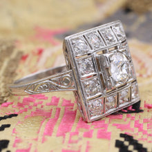 Early Deco Square Platinum Diamond Cocktail Ring