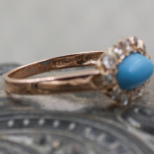 C1880 Turquoise and Rose Cut Diamond Ring- Gold Stamp