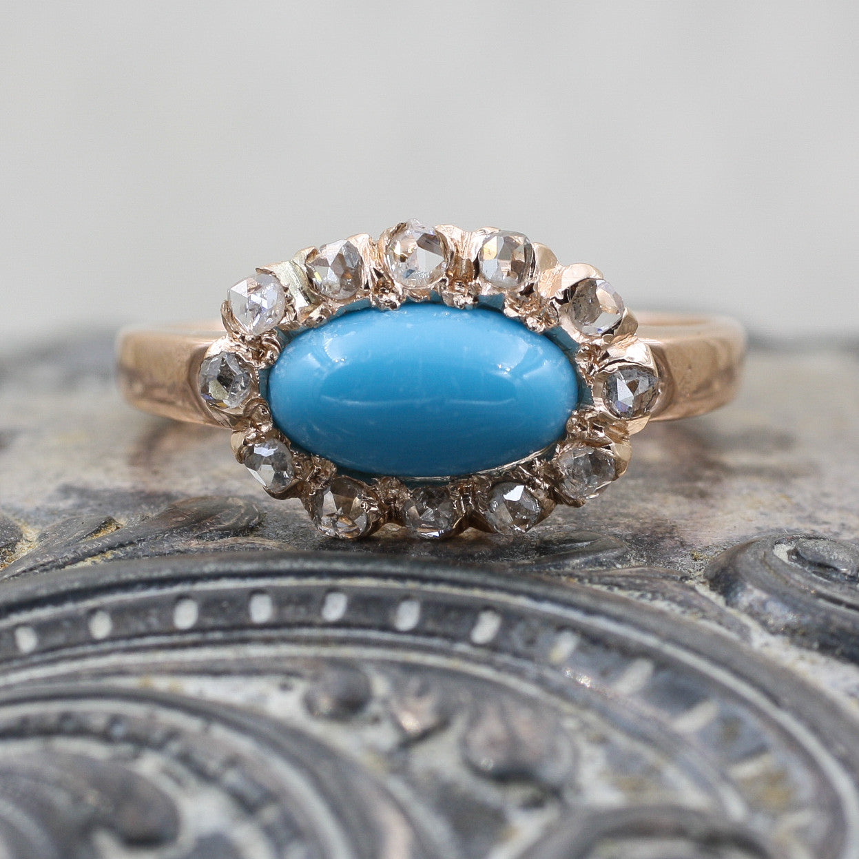 C1880 Turquoise and Rose Cut Diamond Ring- Front View