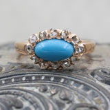 c1880 Turquoise and Diamond Rose Gold Ring
