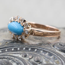 C1880 Turquoise and Rose Cut Diamond Ring- Side View