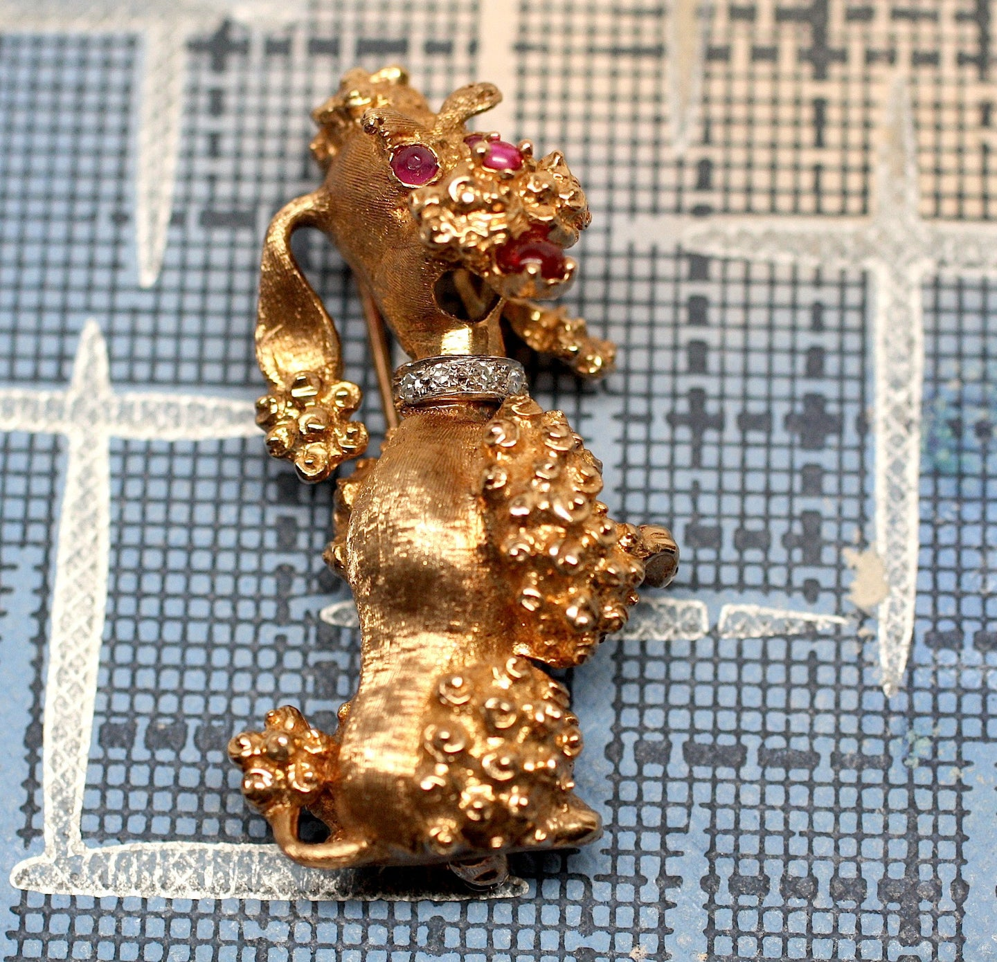 14K Ruby & Diamond Poodle Brooch