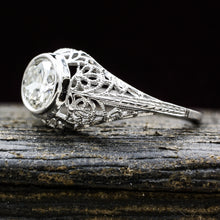 1920s 18k Filigree .95 Carat Certified Diamond Ring