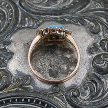 C1880 Turquoise and Rose Cut Diamond Ring- Profile View