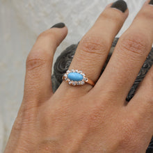 C1880 Turquoise and Rose Cut Diamond Ring- On Model