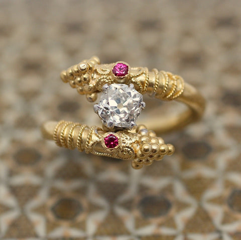 22K Gold, Old Mine Cut Diamond, Ruby 'Bypass' Ring