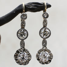 c1920 Two Carat Diamond Two-tone Drop Earrings- Front View