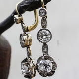 c1920 Two Carat Diamond Two-tone Drop Earrings