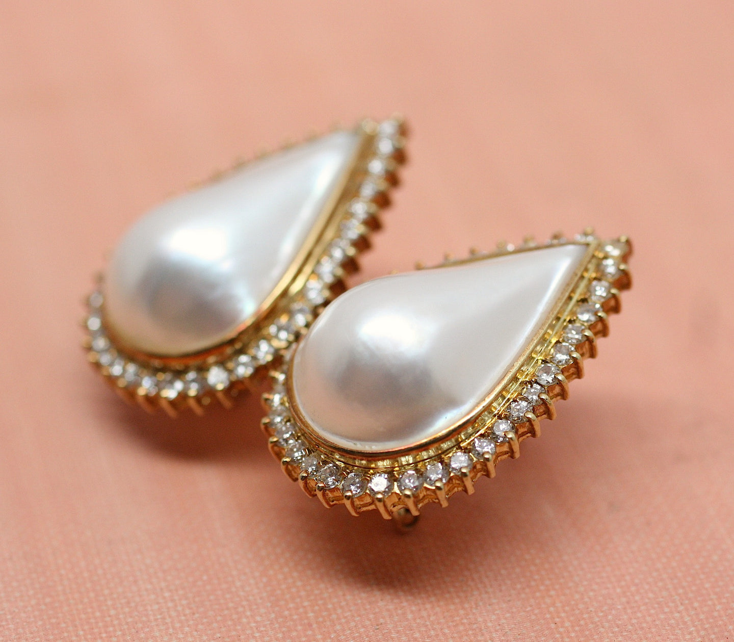 18K Mabe Pearl & Diamond Pierced Earrings