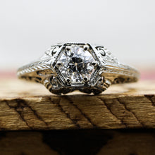 1920s Tall 18k Filigree GIA Certified Diamond Solitaire- Diamond View