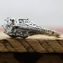 1920s Tall 18k Filigree GIA Certified Diamond Solitaire- Shoulders