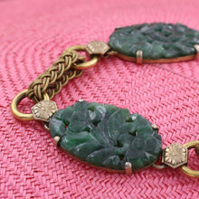 Chinese Gilt Spinach Jade Bracelet c1930