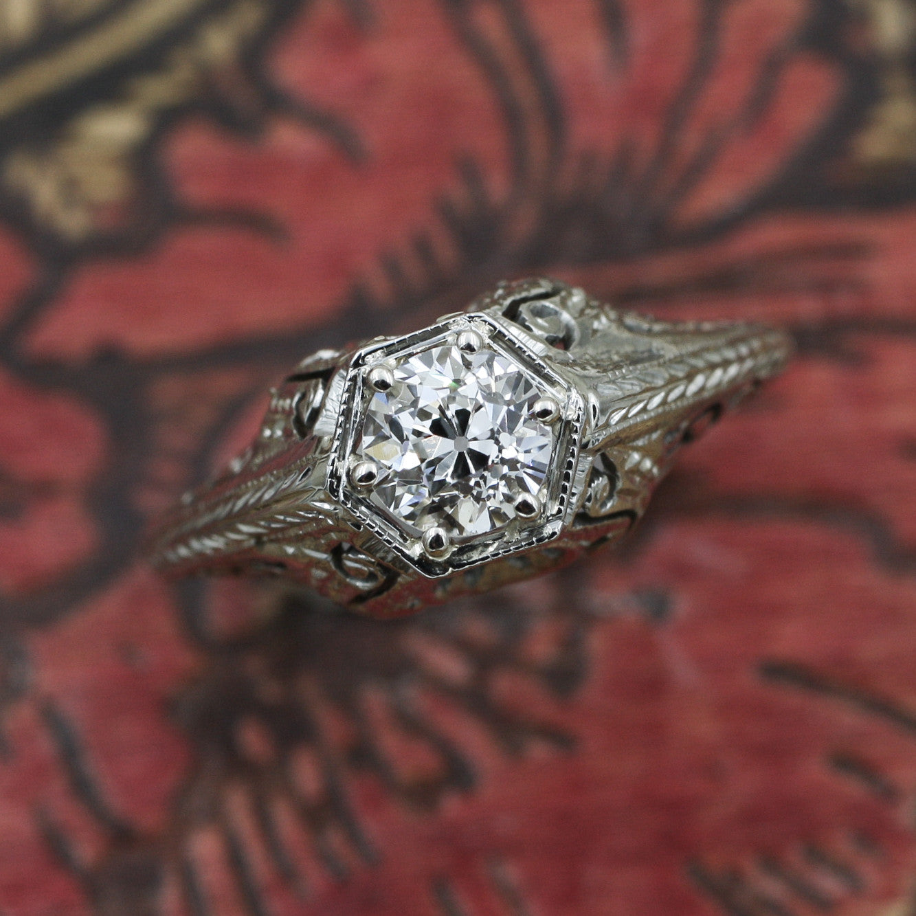 1920s Tall 18k Filigree GIA Certified Diamond Solitaire- Top View