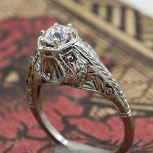 1920s Tall 18k Filigree GIA Certified Diamond Solitaire- Side Angle View