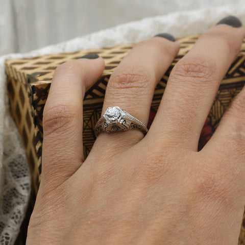 1920s Tall 18k Filigree GIA Certified Diamond Solitaire- On Model