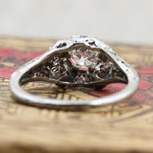 1920s Tall 18k Filigree GIA Certified Diamond Solitaire- Underside View