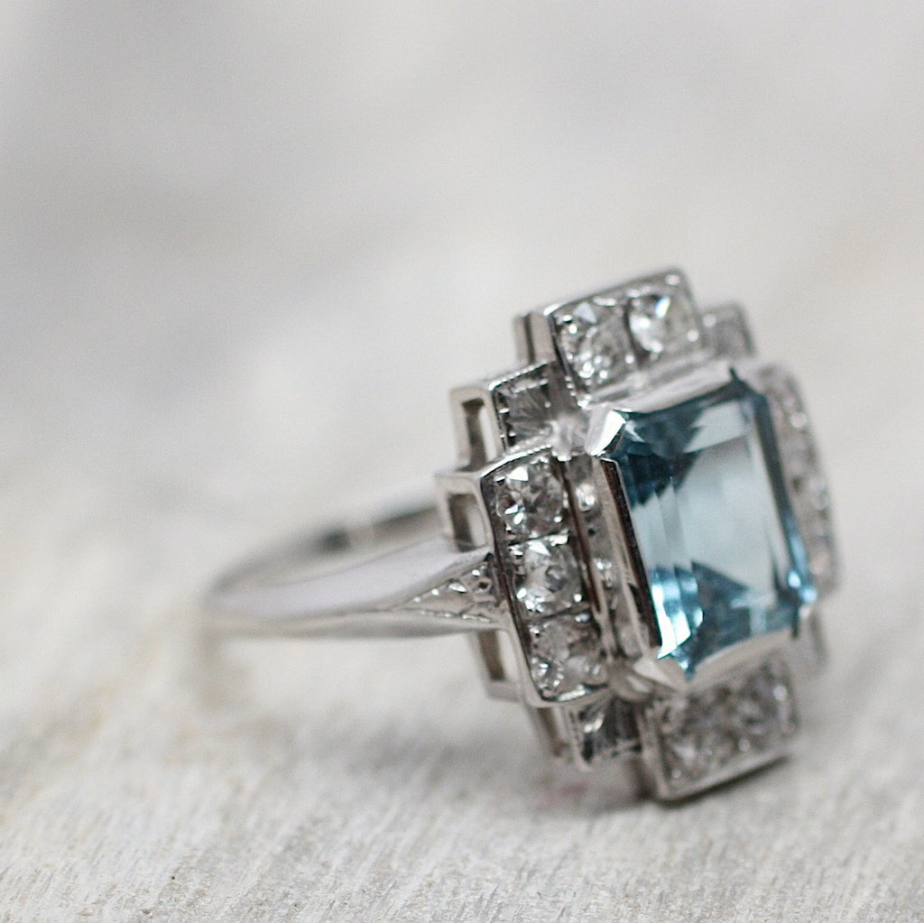 Art Deco 18k Aquamarine Ring Pippin Vintage Jewelry