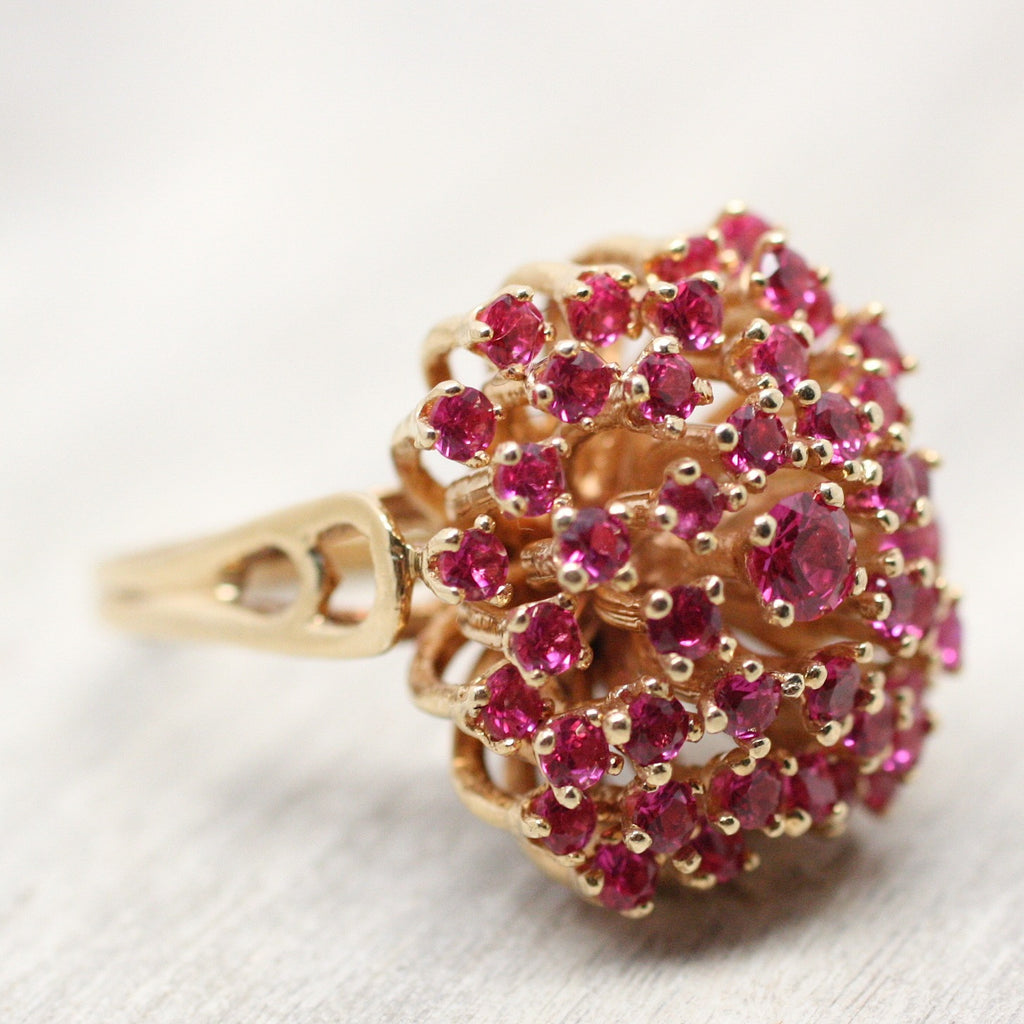 14k Gold Synthetic Ruby Cocktail Ring Pippin Vintage Jewelry