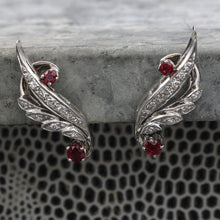 Midcentury Fine Ruby and Diamond Climber Earrings