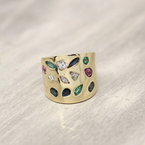 Circa 1980 Multi Color 14K gold Ring