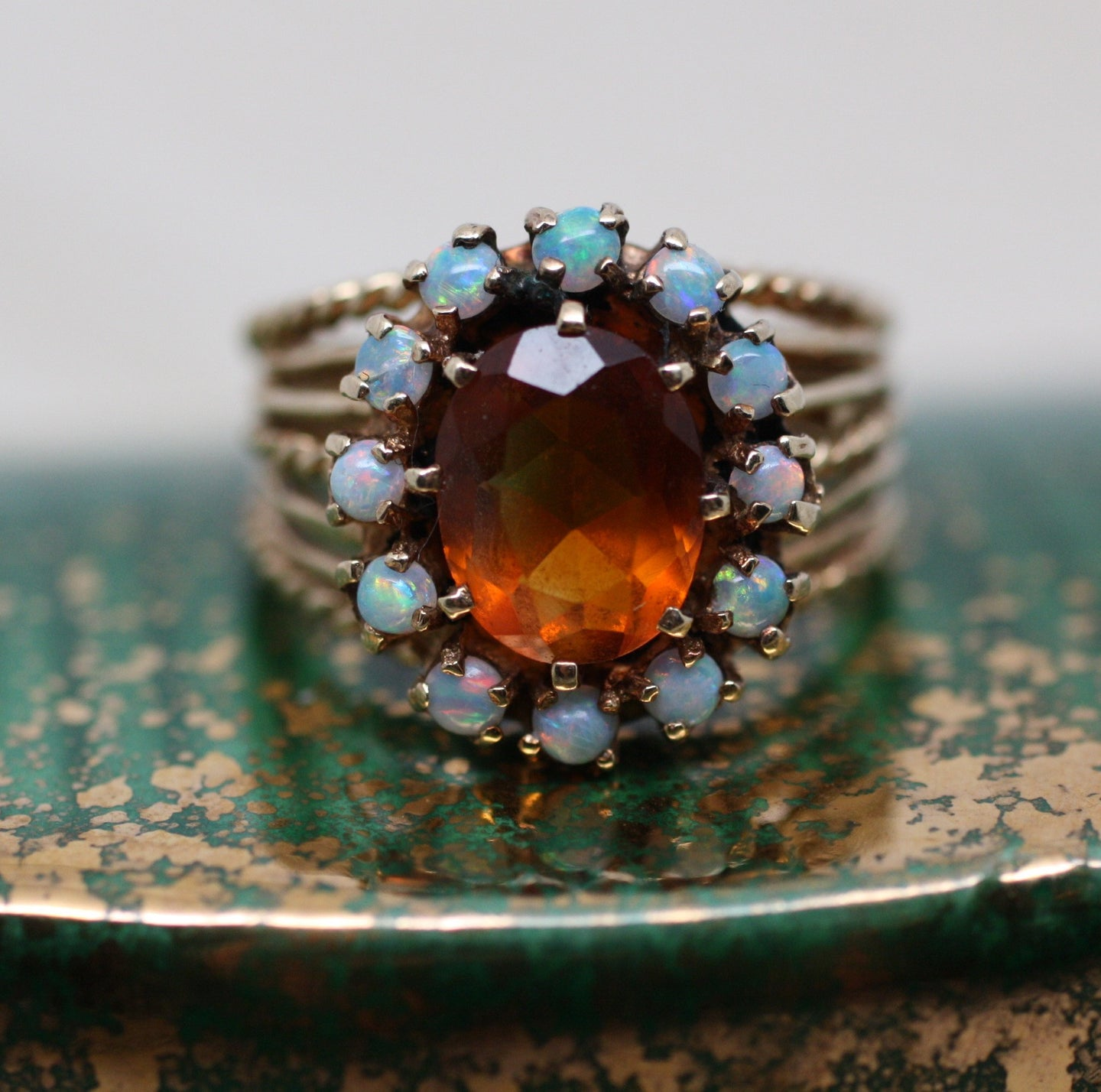 Madeira Citrine & Opal Cocktail Ring