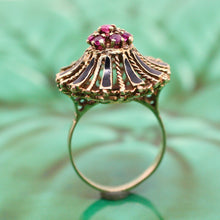 14K Enamel & Ruby Ring
