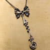 c1880 Old Mine Cut Diamond Bow Lavaliere Necklace