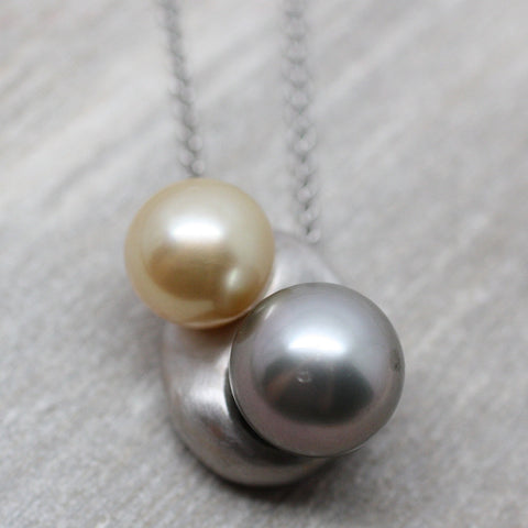 18K Black & Golden Pearl Pendant
