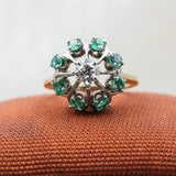 c1910 Old European Cut Diamond and Columbian Emerald Halo Ring