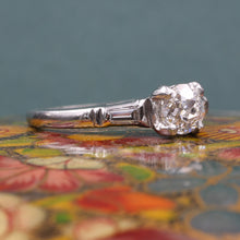 Antique .60 Carat Diamond in Midcentury Platinum Ring
