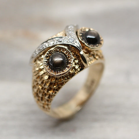Circa 1960 14K Cat's Eye Owl Ring