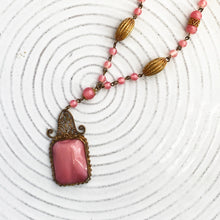 Pink Czech Glass Pendant Necklace c1930