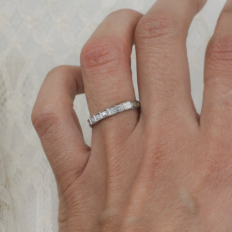 1920s-40s 18k Fully Carved Diamond Band