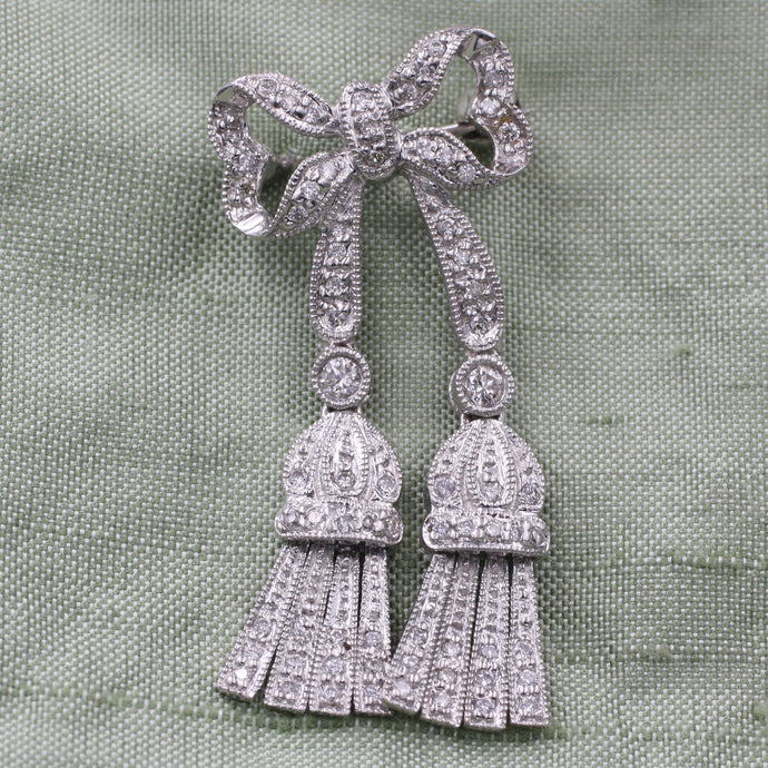 Deco Diamond Bow Pendant Brooch