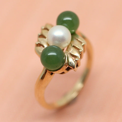14K Jade & Cultured Pearl Ring