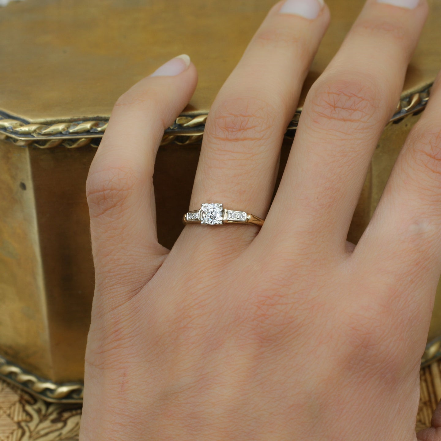 1930s Old Mine Cut Diamond 14k Two Tone Ring Pippin