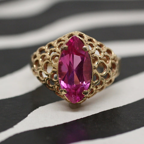 Circa 1960 14K Synthetic Pink Sapphire Ring