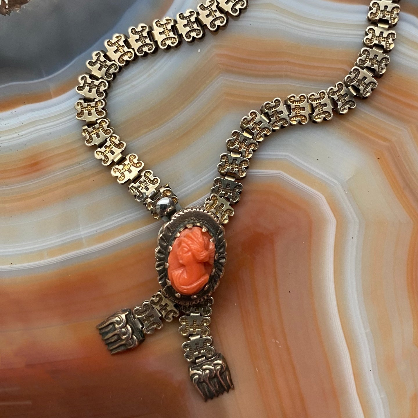 Coral Cameo Lariat Necklace c1890