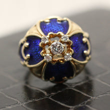 Circa 1930 14K Enamel & Diamond Ring