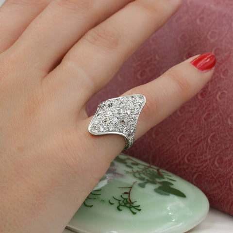 Old Mine Cut Diamond Pavé Shield Ring c1900