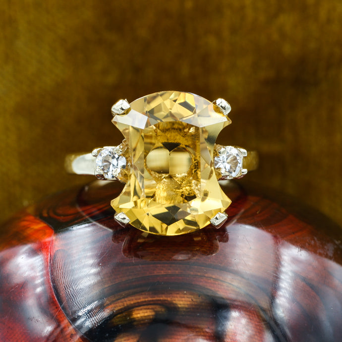 Midcentury Citrine and Spinel Cocktail Ring