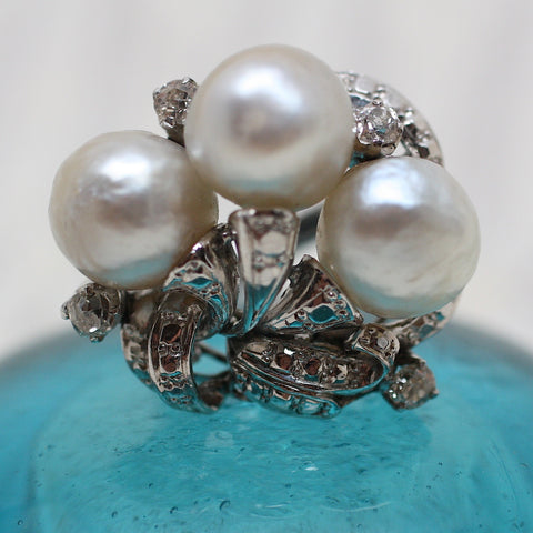 19th Century Chinese Platinum & Natural Pearl Ring
