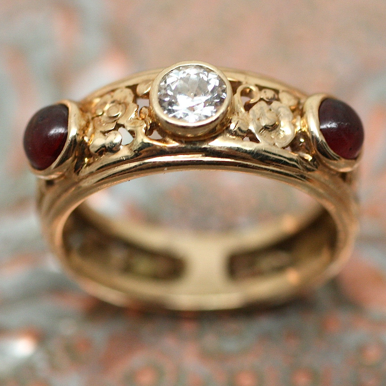 Circa 1930 14K Diamond & Garnet Ring